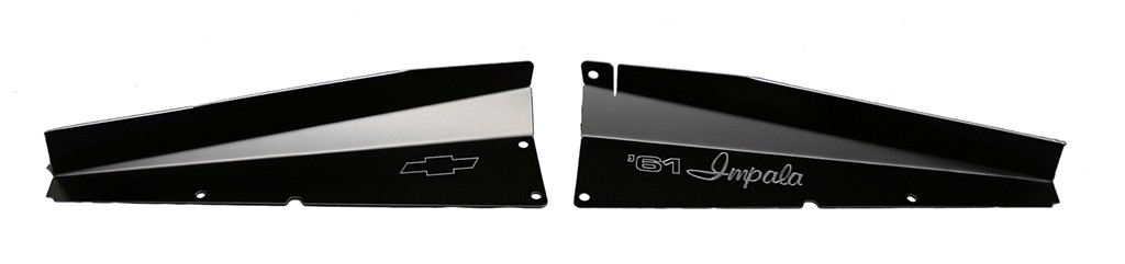 "61 Impala Radiator Show Panel - black - with ""61 Impala"" Engraved"