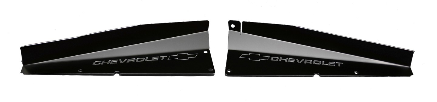 "61 Impala Radiator Show Panel - black - with ""Bowtie/Chevrolet"" Engraved"