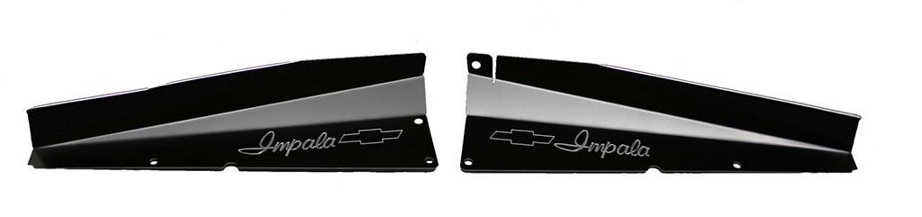 "61 Impala Radiator Show Panel - black - with ""Bowtie"" Engraved"