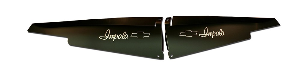 "63 Impala Radiator Show Panel - black -  with ""Bowtie"" Engraved"