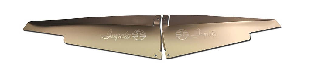"63 Impala Radiator Show Panel - silver satin - with ""SS"" Engraved"