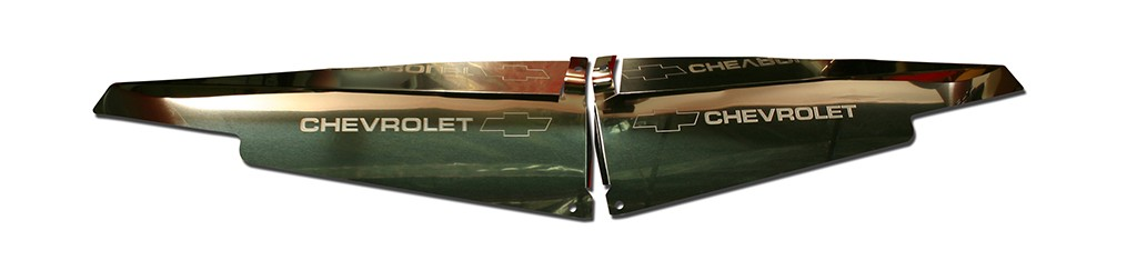 "63 Impala Polished Radiator Show Panel - with ""Bowtie/Chevrolet"" Engraved"