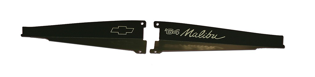 "64 Chevelle Radiator Show Panel - black - with ""Malibu"" Engraved"