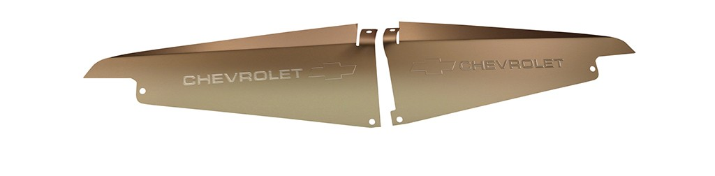 """64 Impala Radiator Show Panel - silver satin - with """"Bowtie/Chevrolet"""" Engraved"""