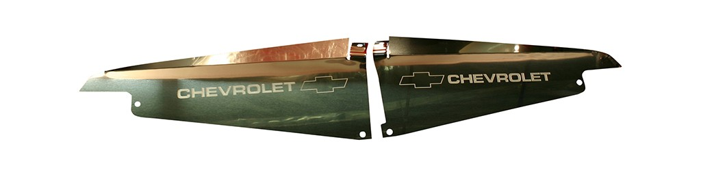 "64 Impala Polished  Radiator Show Panel - polished - with ""Bowtie/Chevrolet"" Engraved"