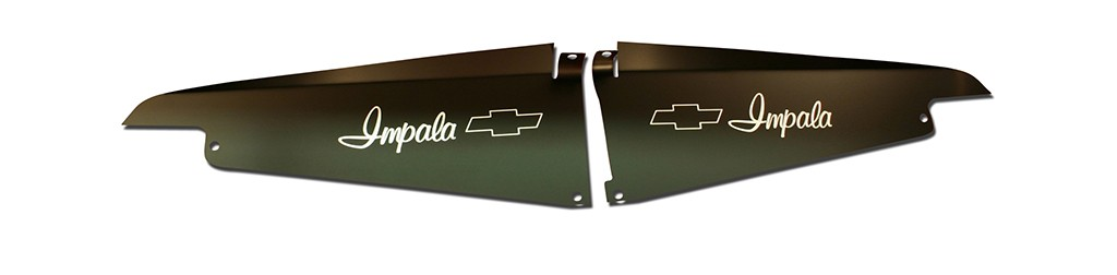 "64 Impala Radiator Show Panel - black -  with ""Bowtie"" Engraved"