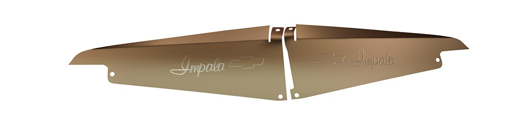 "64 Impala Radiator Show Panel - silver satin -  with ""Bowtie"" Engraved"