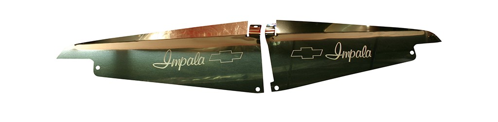 "64 Impala polished Radiator Show Panel - polished -  with ""Bowtie"" Engraved"