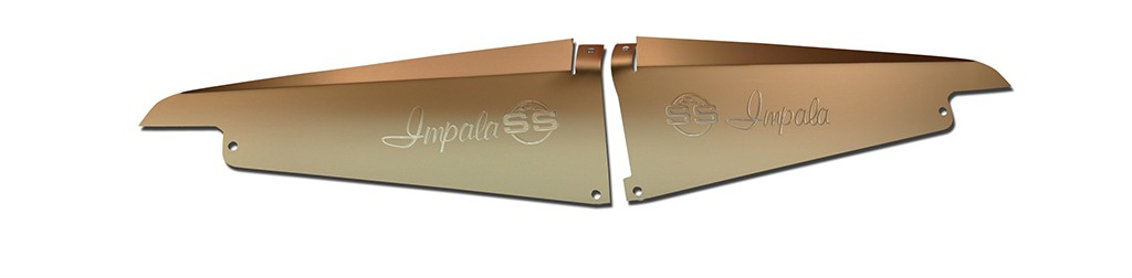 """64 Impala Radiator Show Panel - silver satin - with """"SS"""" Engraved"""
