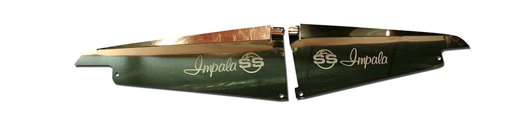 "64 Impala Polished  Radiator Show Panel - with ""SS"" Engraved"