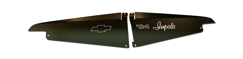"64 Impala Radiator Show Panel - black  - with ""64 Impala"" Engraved"