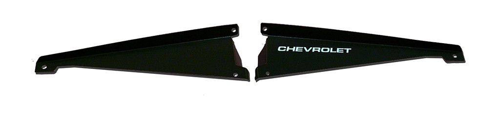 "65 Chevelle Radiator Show Panel - black - with ""Chevrolet"" Engraved"