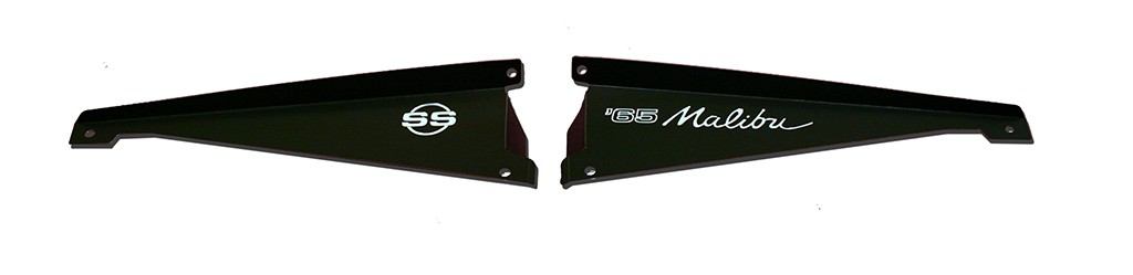 "65 Chevelle Radiator Show Panel - black - with ""Malibu SS"" Engraved"