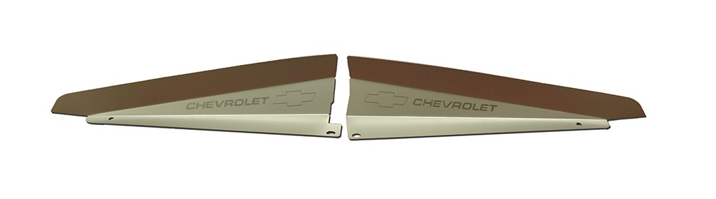 "66 Chevelle Radiator Show Panel - silver satin - with ""Bowtie/Chevrolet"" Engraved"