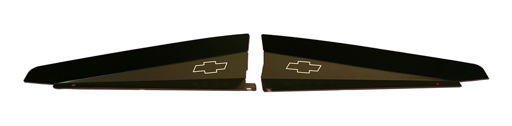 """66 Chevelle Radiator Show Panel - black - with """"Bowtie"""" Engraved"""