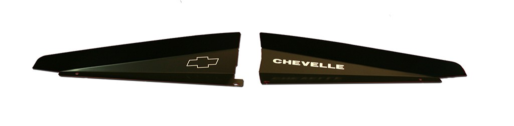 """66 Chevelle Radiator Show Panel - black - with """"Chevelle""""  Engraved"""
