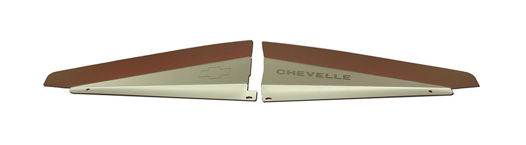 "66 Chevelle Radiator Show Panel - silver satin - with ""Chevelle""  Engraved"