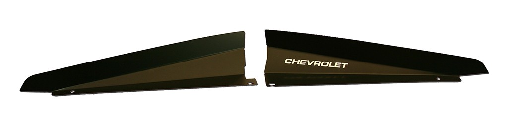 "66 Chevelle Radiator Show Panel - black - with ""Chevrolet"" Engraved"