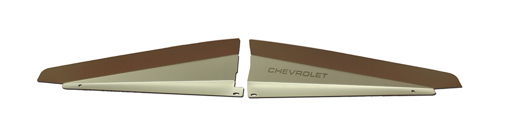 """66 Chevelle Radiator Show Panel - silver satin - with """"Chevrolet"""" Engraved"""