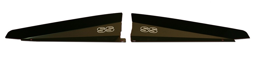 "66 Chevelle Radiator Show Panel - black - with ""SS"" Engraved"