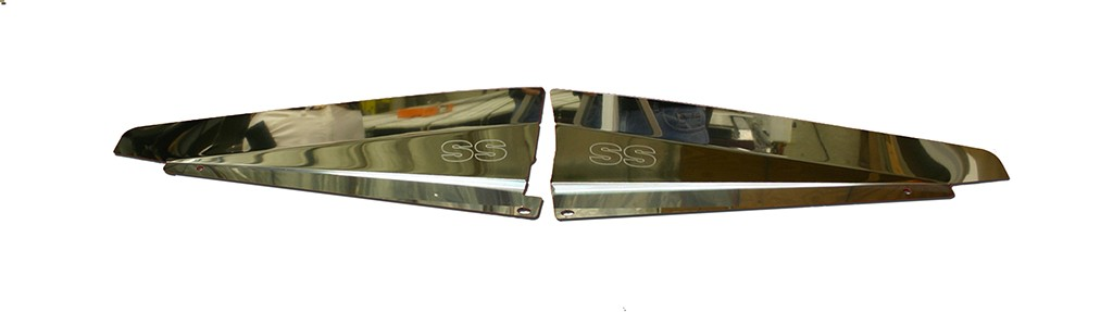 "66 Chevelle Polished Radiator Show Panel - polished - with ""SS"" Engraved"