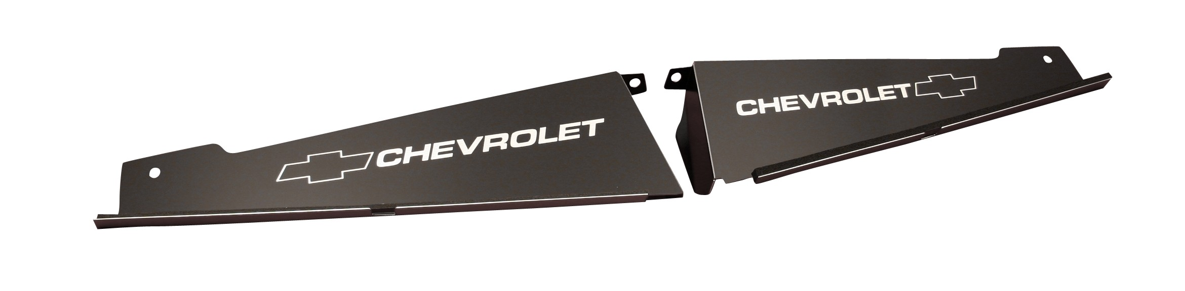 "67-69 2 Piece Camaro Radiator Show Panel - black - with ""Bowtie/Chevrolet"" Engraved"