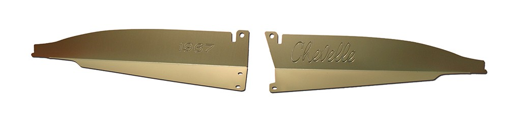 """67 Chevelle Radiator Show Panel - silver satin - with """"Chevelle""""  Engraved"""