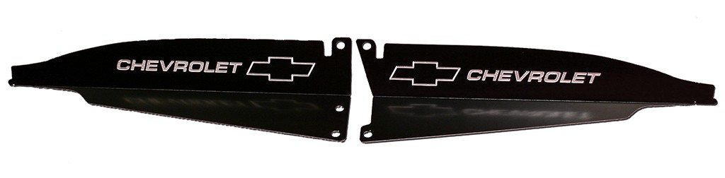 "67 Chevelle Radiator Show Panel - black - with ""Bowtie/Chevrolet"" Engraved"