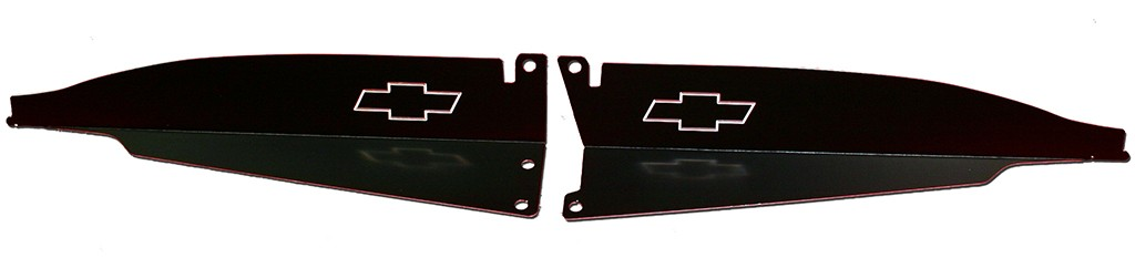 "67 Chevelle Radiator Show Panel - black - with ""Bowtie"" Engraved"