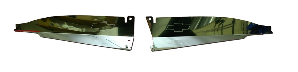 """67 Chevelle Polished Radiator Show Panel - polished - with """"Bowtie"""" Engraved"""