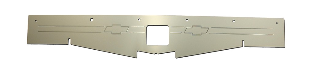 "68-69 Chevelle Radiator Show Panel - silver satin - with ""Bowtie"" Engraved"
