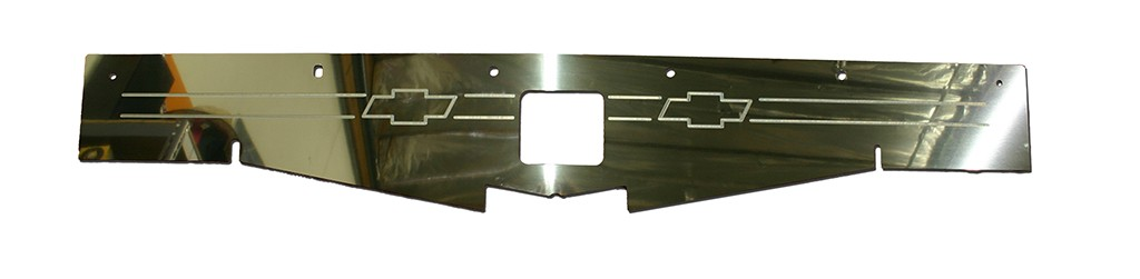 "68-69 Chevelle Polished Radiator Show Panel - with ""Bowtie"" Engraved"