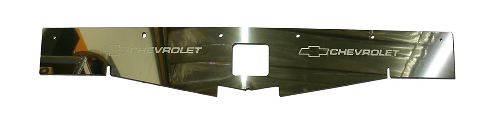 "68-69 Chevelle Polished Radiator Show Panel - with ""Bowtie/Chevrolet"" Engraved"