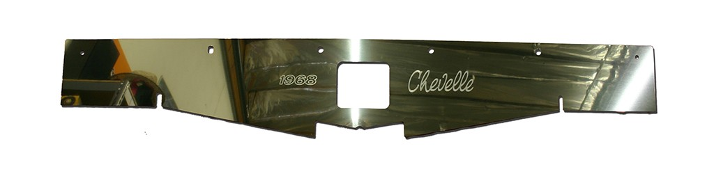 "68-69 Chevelle Polished Radiator Show Panel - with ""Chevelle""  Engraved"