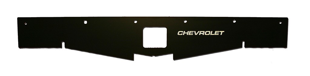 "68-69 Chevelle Radiator Show Panel - black - with ""Chevrolet"" Engraved"
