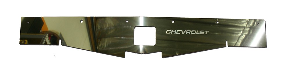 "68-69 Chevelle Radiator Show Panel - polished - with ""Chevrolet"" Engraved"