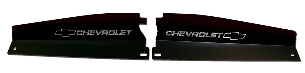 "68-72 Nova Radiator Show Panel - black - with ""Bowtie/Chevrolet"" Engraved"