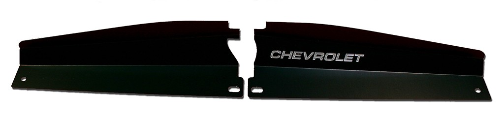 "68-72 Nova Radiator Show Panel - black - with ""Chevrolet"" Engraved"
