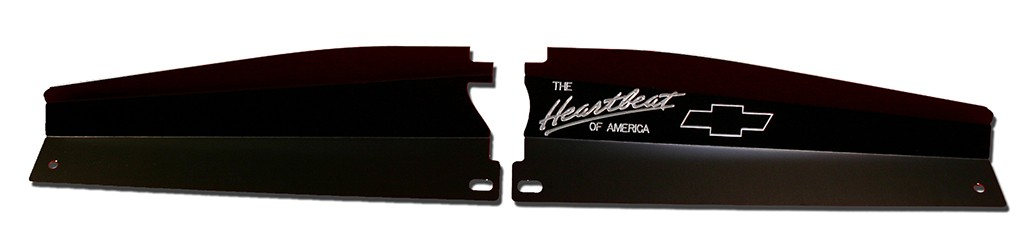 "68-72 Nova Radiator Show Panel - black - with ""Heartbeat of America""  Engraved"