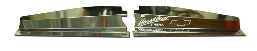"68-72 Nova Polished Radiator Show Panel - polished - with ""Heartbeat of America""  Engraved"