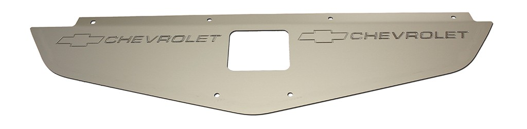 "70-72 Chevelle/Monte Carlo Radiator Show Panel - silver satin - with ""Bowtie/Chevrolet"" Engraved"