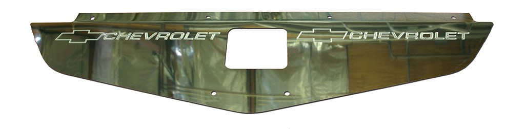 "70-72 Chevelle/Monte Carlo Polished Radiator Show Panel - polished - with ""Bowtie/Chevrolet"" Engraved"