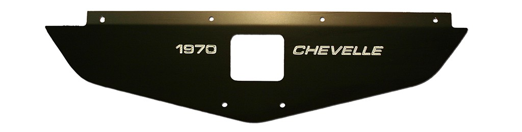 "70-72 Chevelle Radiator Show Panel - black - with ""Chevelle""  Engraved"