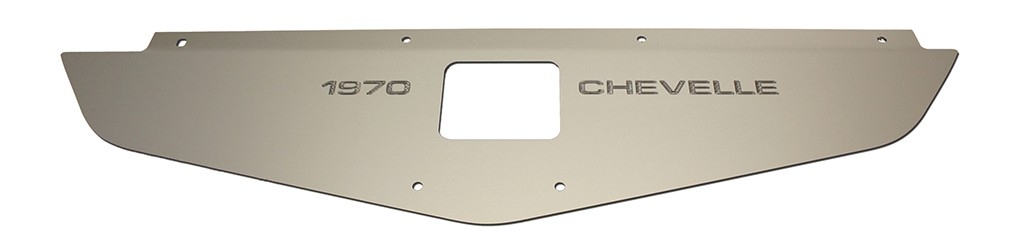 """70-72 Chevelle Radiator Show Panel - silver satin - with """"Chevelle""""  Engraved"""