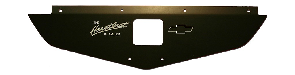 "70-72 Chevelle/Monte Carlo Radiator Show Panel - black - with ""Heartbeat of America"" Engraved"