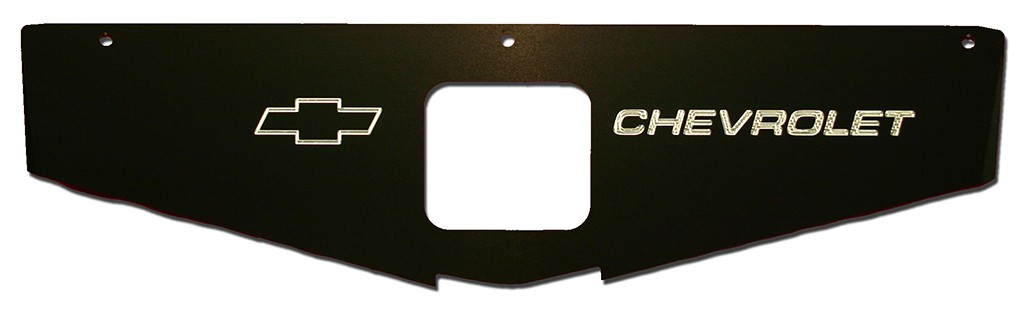 "70-81 Camaro Radiator Show Panel - black - with ""Bowtie/Chevrolet"" Engraved"