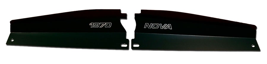 "68-72 Nova Radiator Show Panel - black - with ""Nova"" Engraved"