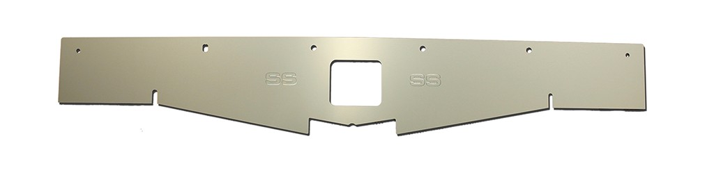"68-69 Chevelle Radiator Show Panel - silver satin - with ""SS"" Engraved"