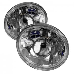 7inch Universal Round Projector Lamp W/ Super White H4 Bulbs - Chrome